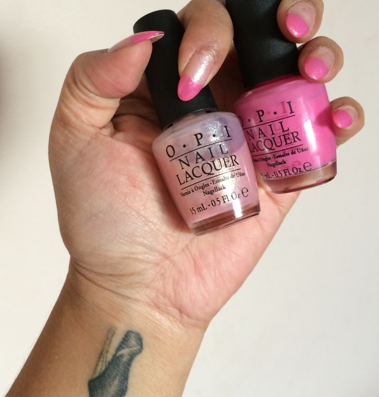 Spring Perfect pink-tipped combo with OPI Nail Lacquer