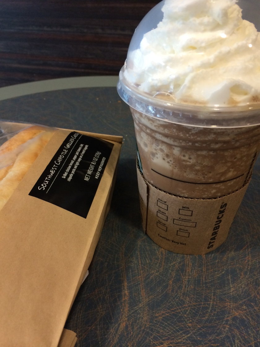 Starbucks frappacino & chipotle chicken sandwich