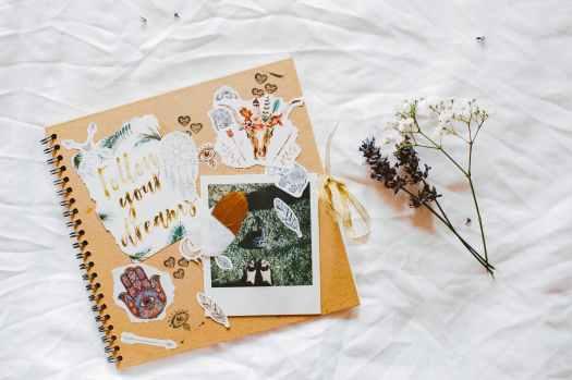 scrapbook on white textile